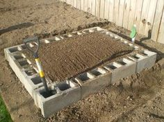 Cinder blocks instead of wood raised beds. Plus you could plant herbs or strawberries in the cinderblocks themselves!