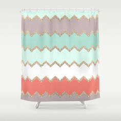 AVALON CORAL Shower Curtain - replicate on large canvas