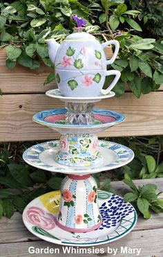 Garden Totem  Garden Tea Party by GardenWhimsiesByMary on Etsy, $65.00