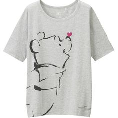 UNIQLO Women Disney Project Short Sleeve Graphic T-Shirt ($20) ❤ liked on Polyvore featuring tops, t-shirts, light gray, cotton t shirts, uniqlo t-shirts, uniqlo, short sleeve t shirts y short sleeve tops
