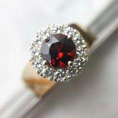 Diamonds & Garnet Ring • Garnet Rings • Garnet Gemstone • Diamond Halo Ring