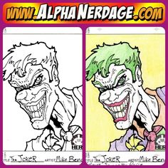 #Thejoker freehand design, drawn, inked/colored by Tattoo Artist Mikey B. illustration sketch drawing ink inked nerd joker batman www.alphanerdage.com