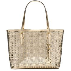 MICHAEL Michael Kors MK Flower Perforated Small Travel Tote (180 PAB) ❤ liked on Polyvore featuring bags, handbags, tote bags, purses, man bag, michael kors handbags, brown tote, handbags totes and michael kors purses
