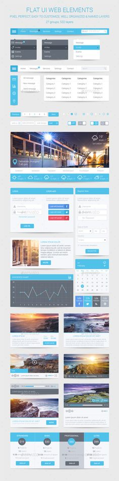 Flat User Interface Web Elements Template PSD #design #ui Download: http://graphicriver.net/item/flat-ui-web-elements/9727557?ref=ksioks