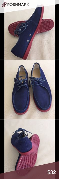 BLUE SUEDE SHOES!!!  RED RUBBER SOLES. Put on your blue suede shoes!  Kinda Louboutin with its red rubber soles. Worn once. Slight scuff under the laces - not at all noticeable when tied. Generic Surplus Shoes Boat Shoes