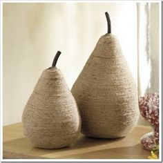 burlap pears...out of plastic fruit, If all you have to do is wrap.....I guess I could do this!