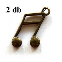 2 db Antikolt bronz színű hangjegy függő dísz - Függő díszek, fityegők - Csinálj Ékszert! webáruház