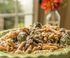 """Nutritarian Bean Pasta with Brussels Sprouts and """"Blue Cheese"""" Dr Fuhrman Recipes, Pasta Recipes, Dinner Recipes, Blue Cheese Recipes, Nutritarian Diet, Vegetarian Recipes, Healthy Recipes, Vegan Meal Plans, Vegan Main Dishes"""