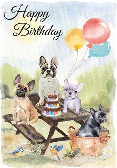 Dog Birthday Wishes, Happy Birthday Animals, Happy Birthday Niece, Happy Birthday Pictures, Happy Birthday Greetings, Birthday Memes, Birthday Ideas, Happy Birthday French Bulldog, Dog Gifts