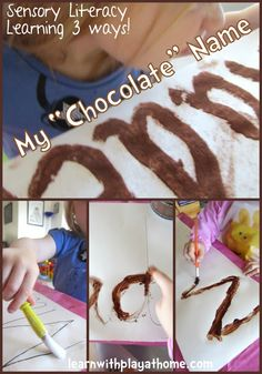 """Learn with Play at home: My """"Chocolate"""" Name. Fun Sensory Literacy Learning 3 ways."""