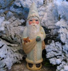 Finely handpainted chalkware Santa cast from an antique chocolate mold by artist Kathryn Campbell. Father Christmas, Christmas Stuff, Christmas Gifts, Paper Clay, Paper Mache, Vintage White Christmas, Frost, German, Santa