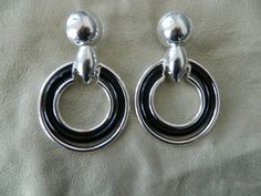 Vintage silver black large clip on hoops