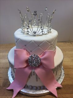 Bling-y Sweet 16 Cake. Quilted fondant. Made by La Patisserie Francaise Arvada…
