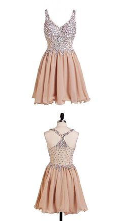 Largos Sweetheart V Neck Party Dresses,Sleeveless Party Dresses,Sheer Straps Short Party Dresses,Crystal Party Dresses
