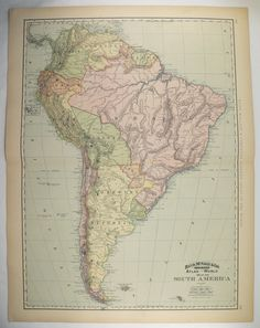Large Map South America 1899 Latin American Decor, Unique Wedding Gift for Couple, Vintage Wall Art, Travel Map, Vacation Gift available from OldMapsandPrints on Etsy Map Wall Art, Map Art, South America Map, Central America, Latin America, Vintage Walls, Vintage Wall Art, Wedding Gifts For Couples, Unique Wedding Gifts