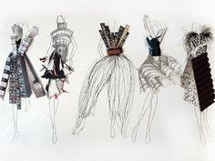 Fashion Sketchbook - fashion illustrations; fashion portfolio // Fashion student work, artist unknown #FashionSketchbook