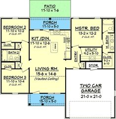 1300 Sq Ft House Plan - Southern Ranch Style with 3 Bedrooms House Plans One Story, New House Plans, Small House Plans, House Floor Plans, Story House, House Plans 3 Bedroom, Ranch House Plans, Southern House Plans, Girls Bedroom