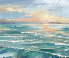 sea painting This painting (print on canvas) could be a sunset or sunrise over the sea, casting a beautiful light. Featured on Completely Coastal. Seascape Paintings, Landscape Paintings, Art Plage, Sea Art, Coastal Art, Beautiful Paintings, Canvas Art, Painting Canvas, Qinni