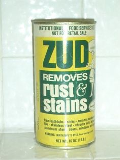 Zud. Use on enamel, porcelain and cast iron. Typically meant for household rust removal, Zud can make antique sinks and tubs look new. For smaller grimy items, spray with oven cleaner, seal in plastic bags, and let sit for several hours; dirt will wipe off.