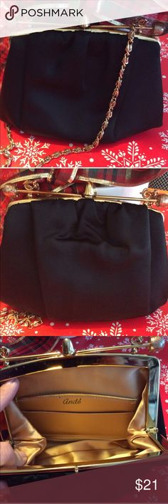~Black~ Ande Vintage Bag Ande satin clutch or shoulder bag. Gold tone hardware and Byzantine chain. Use chain for a shoulder bag with a 14inch drop or tuck unusual chain inside bag to use as a clutch. Unique kiss lick. EUC! About 6.5 Tall, 7 Wide and 1.5inches Deep Thanks for hanging around my closet! ✨💜 A/ggw Ande Bags