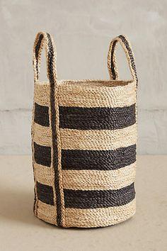 Woven Stripe Basket.  Always see similar baskets at thrift stores. Thrift it  DIY it.