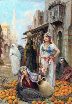 The Orange Seller , Cairo By Fabio Fabbi - Italian, 1861-1946 Oil On canvas