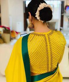 Faamy's fashions - chennai - designer- intricate blouse design embellished with zaridosi / stones /threadloads /floral motifs in the vankis etc swipe Blouse Back Neck Designs, Simple Blouse Designs, Stylish Blouse Design, Latest Blouse Designs, Dress Designs, Wedding Saree Blouse Designs, Silk Saree Blouse Designs, Saree Wedding, Designer Blouse Patterns