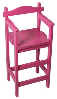 Chaise haute enfant Sagard en bois teintée rose + vernie : Meubles et rangements par eric-delaite