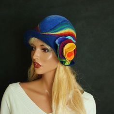 Rainbow hat Felted hat blue felt hat multicolor hat by ZiemskaArt