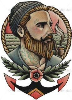 Sailor Tattoos, Boy Tattoos, Trendy Tattoos, Tatoos, Arte Shabby Chic, Gentleman Tattoo, Tatuagem Old Scholl, Desenhos Old School, Hats For Men