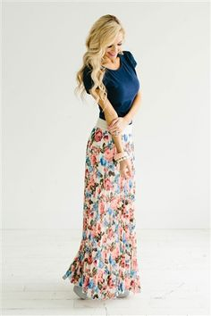 BLUE & CORAL FLORAL MAXI SKIRT