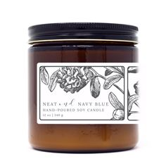 TOBACCO & HONEY Top | Bergamot, TeakwoodMiddle | Honey, Amber, LeatherBase | Tonka, Tobacco Leaves, Sandalwood Each candle is hand poured using pure, American grown soy wax infused with phthalate-free premium fragrance oils with a braided cotton wick. WHAT YOU GET This 12 oz soy candle comes in a apothecary style amber jar with a beautiful botanical label. CANDLE CARE Follow these steps to ensure a clean, even burn and maximize the life of your candle. With proper care, this 12 oz candle has Amber Glass Jars, Glass Candle, Candle Jars, Candle Packaging, Candle Labels, Jam Jar Labels, Blue Candles, Soy Candles, Apothecary Candles