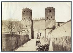 Italia, Roma, Porta San Sebastiano vintage albumen print Tirage albuminé 10X15 Circa 1882