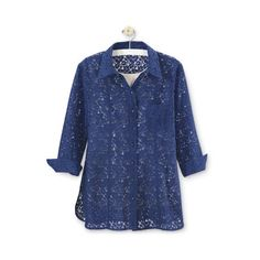 Floral Lace Tunic (215 RON) ❤ liked on Polyvore featuring tops, tunics, lace camisole tops, long tunics, lace cami, blue cami and long lace camisole