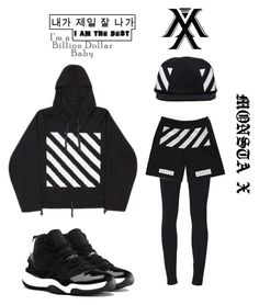 I AM THE BEST :) by someonefromsomewhere on Polyvore featuring mode, Off-White, Helmut Lang, NIKE, best, black, monsta-x and trespass