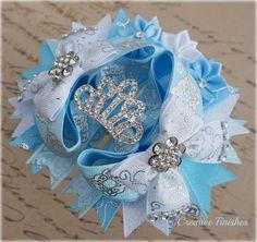 Cinderella Hair Bow, Cinderella Party, Hair Bows fir Girls, Cinderella Tiara, Princess Crown , Birthday Party, Cinderella Costume  Pin Now Read Later