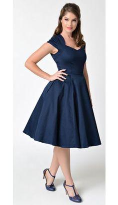 1950s Style Navy Blue Sweetheart Cap Sleeve Swing Dress