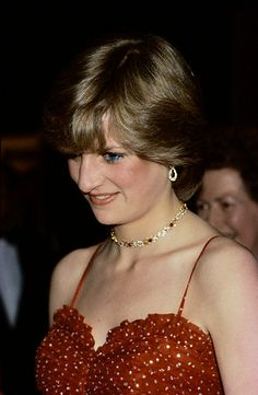 RUBY AND DIAMOND LINK NECKLACE  Lady Diana at the Premiere of For Your Eyes Only Lady Diana, before her marriage to Prince Charles, attends the premiere of For Your Eyes Only at the Odeon Leicester Square cinema.