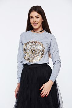 Top Secret lightgrey casual flared women`s blouse, nonelastic fabric, graphic print, long sleeves, women`s sweater