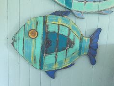 Fish Wall Art Sign Beach House Sea Glass Colours Decor by CastawaysHall - Ready to Ship  This round weathered wood art fish is so cool in all the