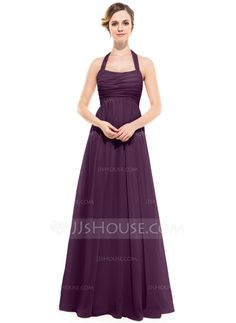 Empire Halter Floor-Length Chiffon Bridesmaid Dress With Ruffle (007051138)