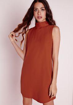 Missguided - Sleeveless High Neck Swing Dress Rust