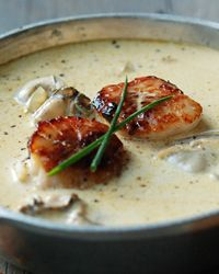 Montauk Scallop and Oyster Pan Roast // Brilliant Oyster Recipes: http://www.foodandwine.com/slideshows/oysters #foodandwine