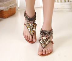 ugly feet but cute sandle..Bohemian Styles Brown PU Upper Flat Heels Women Sandals with Rhinestones