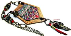 Polymer clay necklace: Boho necklace, Native america by AmethystArtStudio