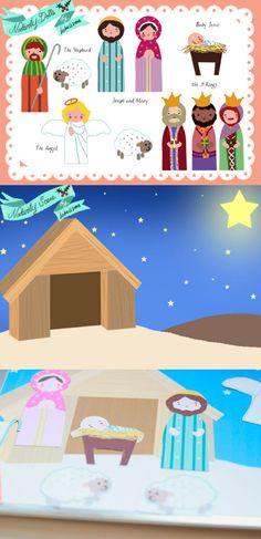 Nativity Doll Cutouts and Nativity Scene  |  Free Printable