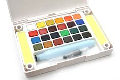 Sakura Koi Watercolor Field Box Set - 24 Color Palette + Waterbrush Pen - SAKURA XNCW-24N - $32.40