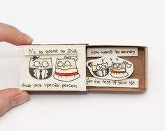 Funny Anniversary Card/ Owl Love Card / Matchbox/ Gift box/ Message box/ It's so…