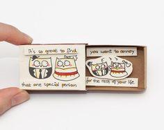 Drôle anniversaire amour carte Matchbox / boîte de par shop3xu
