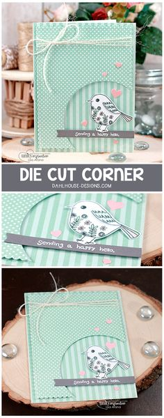 Video + Blog Tutorial: A fun handmade card idea with a cutout corner. A great way to highlight your sentiment and stamped images for a sweet hello. Lots of die cutting and all stamped images are from Unity Stamp Company - Sometimes I Wonder. #cardmaking #handmade #card #idea #diecutting #unitystampco #copics